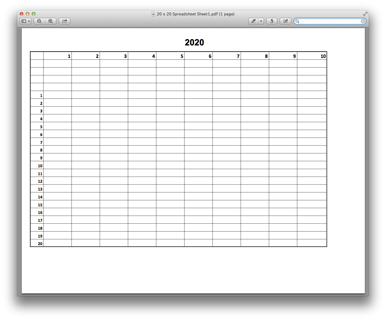 20 x 20 Spreadsheet